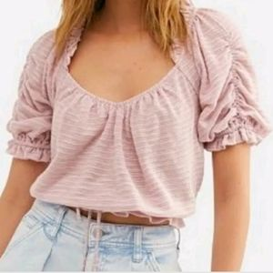 Free People Dorothy Pheasant Crop Top in Fawn Pink